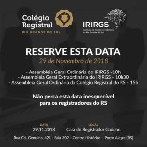 Colégio Registral do RS e IRIRGS promovem Assembleias no dia 29.11