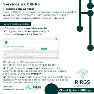 IRIRGS divulga arte tutorial com passo a passo do serviço de Pesquisa na Central da CRI-RS