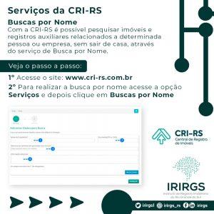 IRIRGS divulga arte tutorial com passo a passo do serviço de Busca Por Nome da CRI-RS