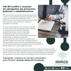 IRIRGS divulga artes apresentando serviços disponíveis para advogados