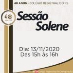Colégio Registral do RS comemora 40 anos de atuação em Sessão Solene virtual, nesta sexta-feira (13.11)