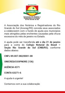Anoreg/RS Social: Ajude as famílias atingidas pelas chuvas no Rio Grande do Sul!