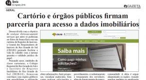 Clipping – Jornal Gazeta de Caçapava – Cartório e órgãos públicos firmam parceria para acesso a dados imobiliários