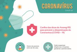 Anoreg/RS divulga cartaz informativo com medidas de prevenção ao novo Coronavírus (COVID–19)