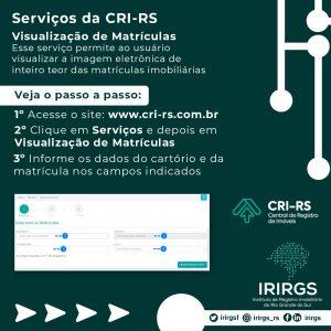 IRIRGS divulga arte tutorial com passo a passo do serviço de Visualização de Matrículas da CRI-RS
