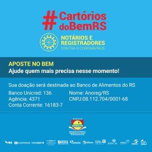 Colabore com a parceria entre a Anoreg/RS e o Banco de Alimentos para ajudar famílias atingidas pelo Coronavírus
