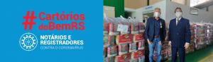 Mais de 100 toneladas de alimentos estão sendo entregues em virtude de arrecadação da campanha Cartórios do Bem RS